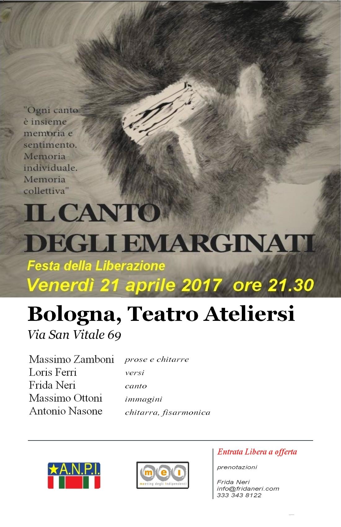 """""""Il canto degli emarginati"""" - Bologna - Teatro Aterliersi"""